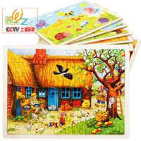 Livraison gratuite Miller's ferme pommier maison en bois Puzzle jouets, enfants 60 pièces dessin animé puzzle, enfants puzzle jouets/cadeau