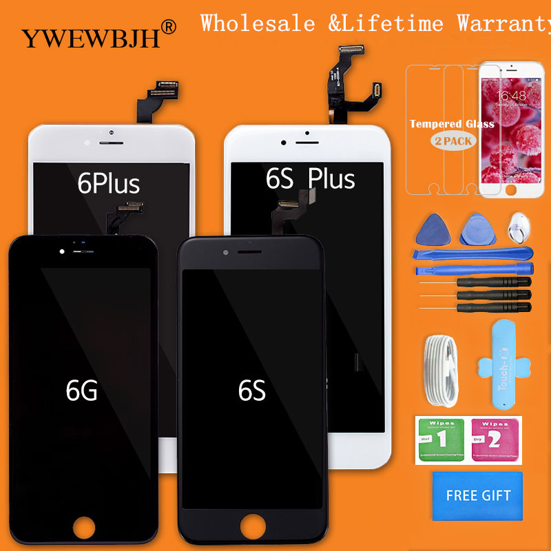 YWEWBJH AAA 品質 10 個ロット LCD Assemblyfor iPhone 6 6 グラム 6P 6S 6SP 液晶画面表示タッチスクリーンデジタイザと黒、白  グループ上の 携帯電話 & 電気通信 からの 携帯電話用液晶ディスプレイ の中 1
