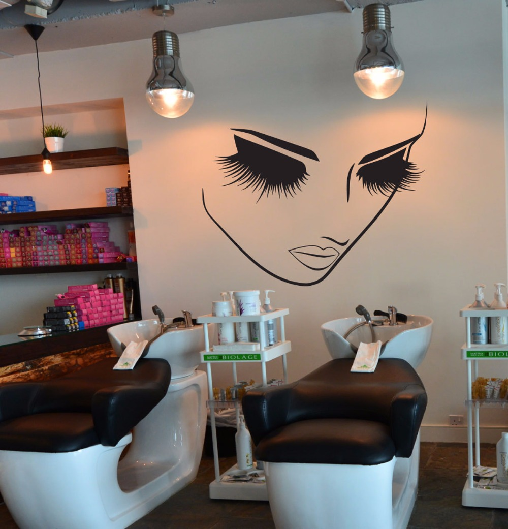Beauty Eyelash Spa Salon Woman Face Wall Sticker Hair Nail Manicure Fashion Salon Spa Window Wall Decal Vinyl Decor (1)