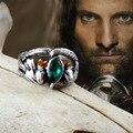Hot vintage antique prata cristal verde anel de Aragorn de Barahir o senhor dos anéis Arwen jóias moda masculina anel amante anel