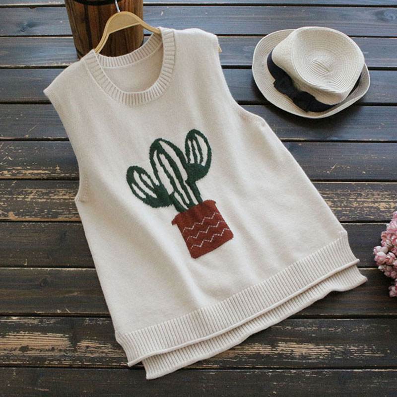 Cartoon Cactus Sleeveless Sweater  1