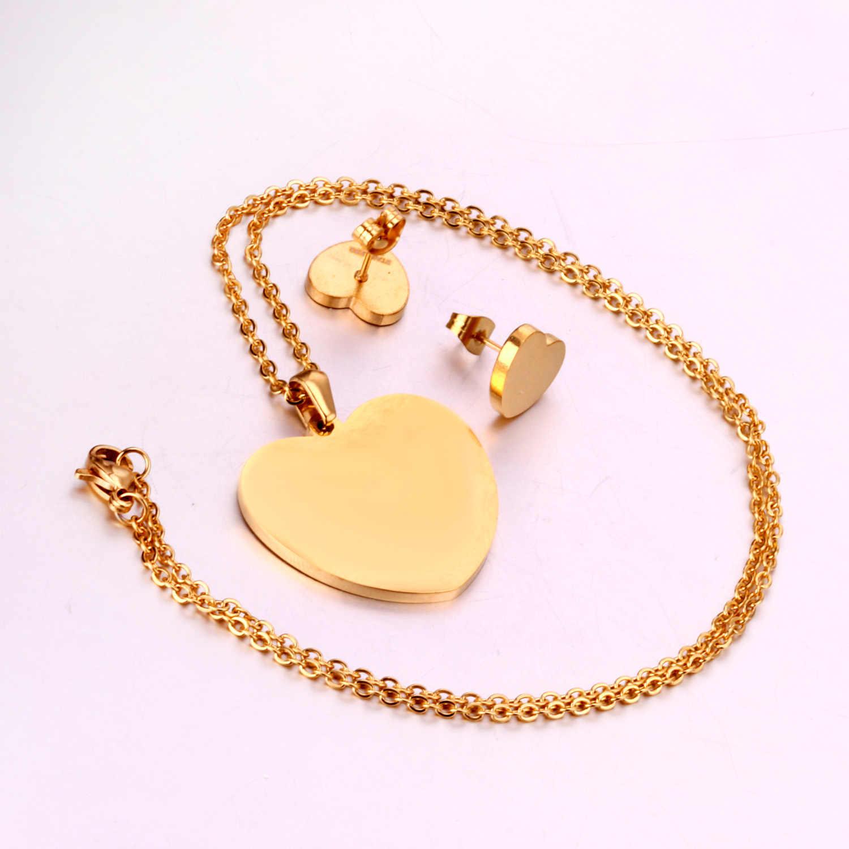 LUXUKISSKIDS לב עגילי תליון שרשרת שרשרת תכשיטי סט עבור נשים בנות זהב/פלדה חתונה דובאי אפריקאי תכשיטי סטים