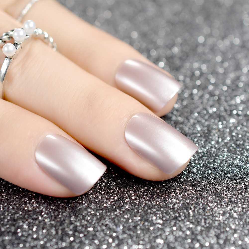 Shiny Short Full Nail Tips Light Taro Glitter Decoration Square
