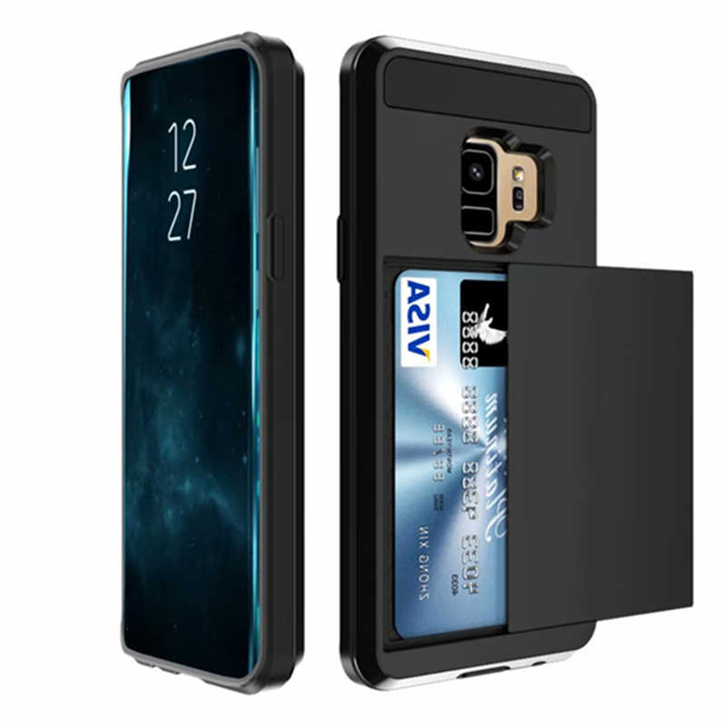 For Samsung Galaxy S10e S9 S8 Plus Case Slide Wallet Credit Card Slot PC Back Cover For S6 S7 edge TPU Armor Shockproof Coque