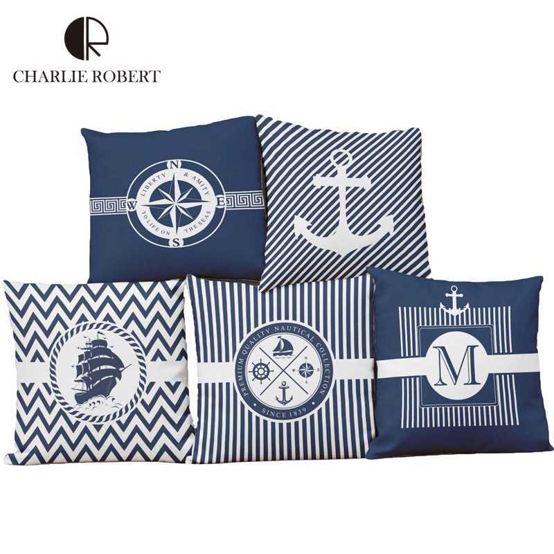 pillow case 2016 decorative pillows new fresh anchors blue design cushion cover for sofa office lumbar cheap office sofa