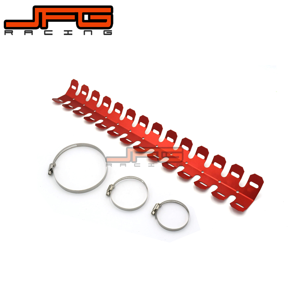 Red JFG RACING Universal Motorcycle Exhaust Muffler Protector Can Cover Guard For Dirt Bike Motocross Supermoto Endro