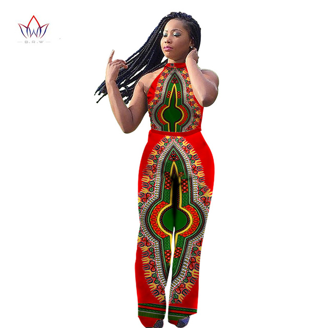 f2892ad16951 BintaRealWax Womens Jumpsuits Dashiki African Print Sleeveless Long Pants  Africa Style Plus Wize 6XL Clothing One