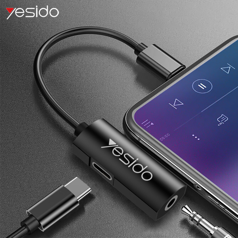 Yesido YAU07 USB Type C Adapter To USB C 3.5mm Jack Audio Splitter For Samsung S9 Huawei P30 Pro Type C 3.5mm Headphone Adapter