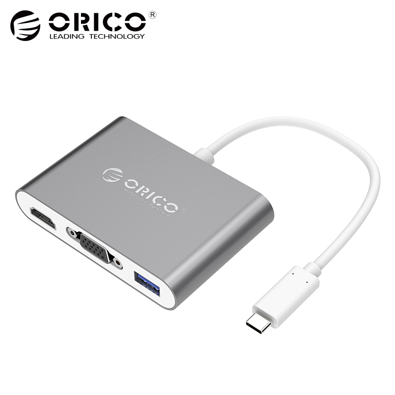 ORICO Aluminum Laptop Docking Station TYPE-C to HDMI VGA Converter with 1 USB3.0 Port for Macbook Laptop PC