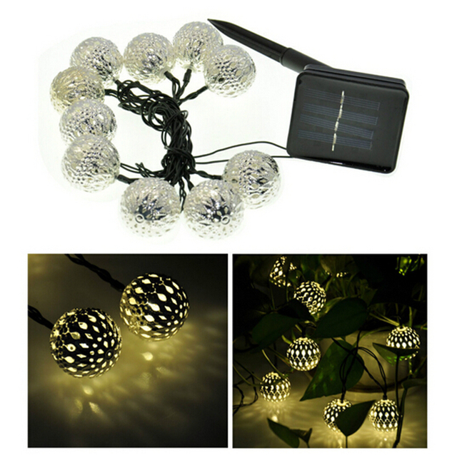 10 balls moroccan string lights solar outdoor powered led fairy 10 balls moroccan string lights solar outdoor powered led fairy lights christmas decoration wedding party led mozeypictures Image collections