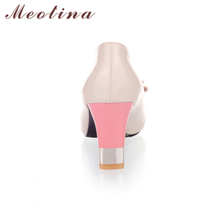 Image 4 - Meotina Ladies Shoes Pumps Autumn Round Toe Basic Office Chunky High Heels Shoes Women Bow Candy Color Shoes Plus Size 9 10