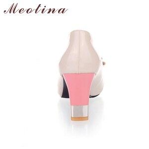 Image 4 - Meotina גבירותיי נעלי משאבות סתיו עגול הבוהן בסיסית משרד שמנמן גבוהה עקבים נעלי נשים קשת צבעים בוהקים נעליים בתוספת גודל 9 10