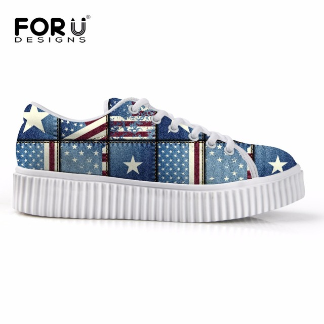 Vintage Denim Blue Flats Platform Shoes for Women USA  Flag Creepers Wedge Shoes Lace Up Stripe Loafer Girls Skateboarding Shoe