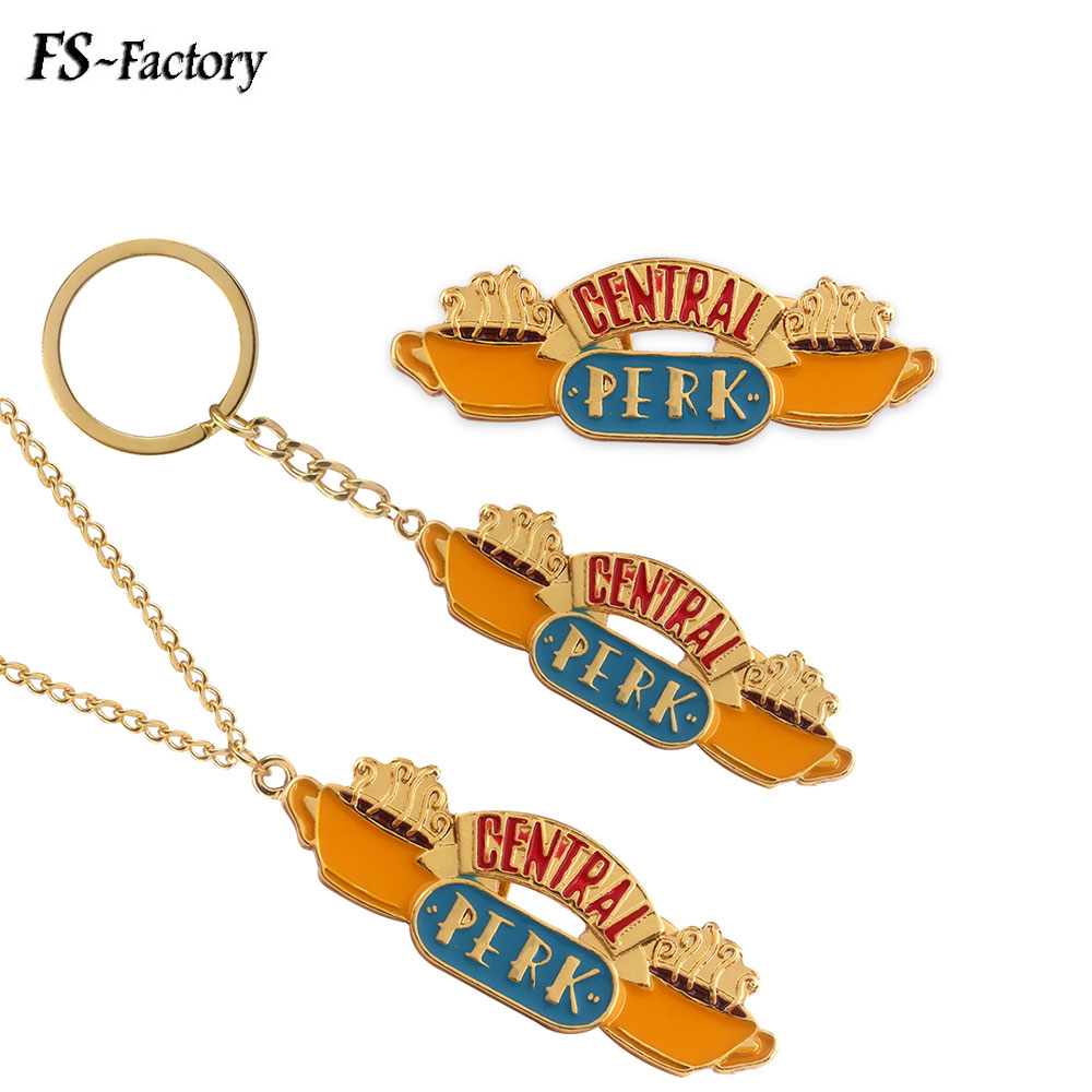 2 Styles TV Show Friends Central Perk Coffee Time Necklace Metal Enamel Necklaces Pendants with Gold Chain Dropshipping Jewelry image