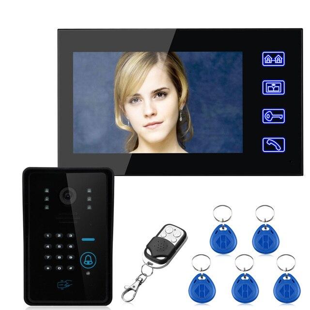 "7"" LCD Touch Button RFID&passowrd Video Intercom Door Phone doorbell Home Intercom&1000 TV Line IR Camera 5pcs keyfobs remote"