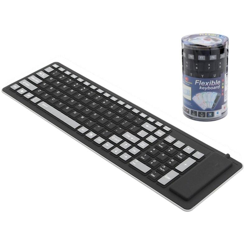 Складной Гибкая клавиатура Водонепроницаемый USB Проводная клавиатура 103 клавиши клавиатуры Силиконовые Мягкий цифровой игровая клавиатура для портативных ПК