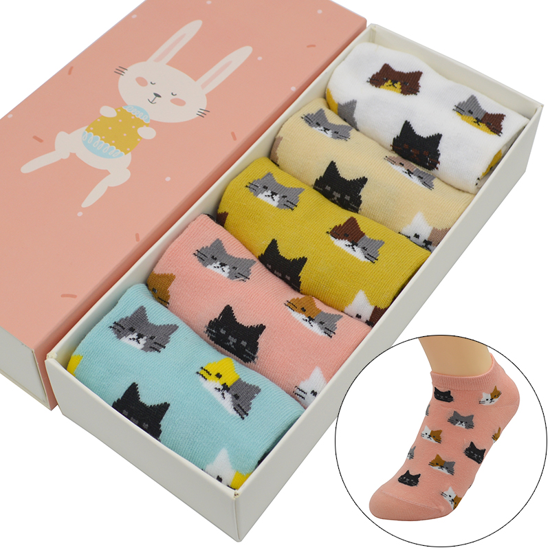 5 Pair/set Cute Cartoon Little Cat Women   Socks   Cotton Kawaii Cute Fashion Girls Summer Short Ankle Invisible   Socks   with Gift Box