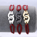 Famosa Marca de Joyería de Plata de Ley 925 Esposas Pulsera de Cuerda Roja Para Las Mujeres de Plata Del Encanto Pulsera de La Boda Menottes Ajustable