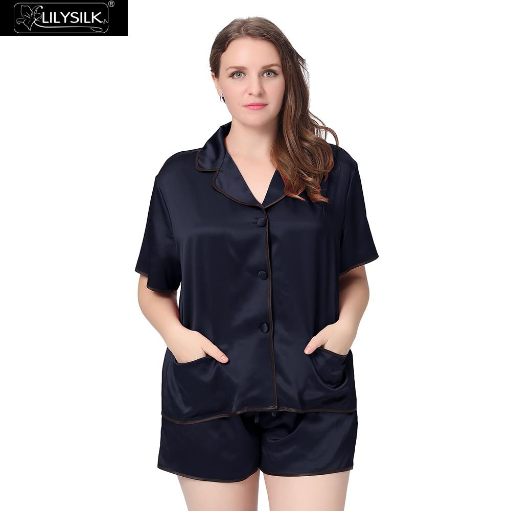 0d9ba2a8a8 Lilysilk 100% Silk Pajamas Women Plus Size 22 Momme Shorts Classic Style  Pure Sleepwear Wedding Bride For Summer 2016 Clothes-in Pajama Sets from  Underwear ...