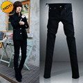 Black Micro Elastic SKinny Jeans Men Teenagers Casual Pencil Pants Cotton Thin Boy Handsome Hip Hop trousers 28-34