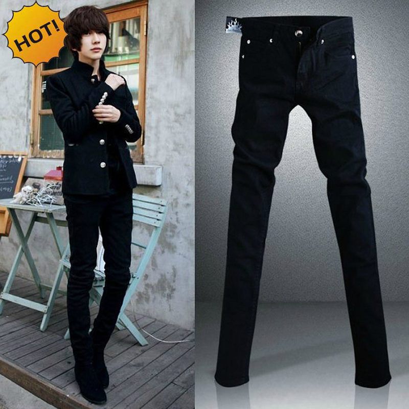 New 2019 Fashion Black Micro Elastic SKinny Men Teenagers Casual Pencil Pants Cotton Thin Boy Handsome Hip Hop jeans 28 34 in Skinny Pants from Men 39 s Clothing