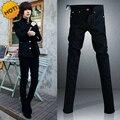 Preto Micro Elásticas Jeans SKinny Homens Adolescentes Menino Bonito Hip Hop calças Casuais Calças Lápis de Algodão Fino 28-34