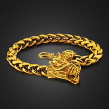 Wholesale Fashion Men's Gold Color Hip Hop Rock Bracelet China Punk Style 20cm 7.5mm Classic Dragon Head Bracelet Valentine Gif цена 2017