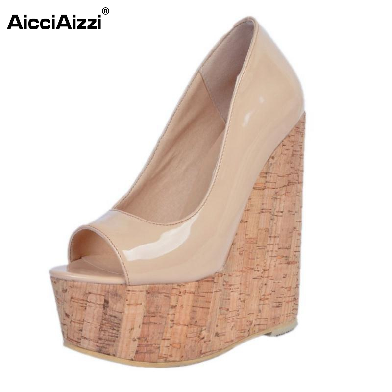 Women Wedges High Heels Shoes Women Pumps Patent Leather Peep Toe Platform Classics Fashion Shoes Ladies Footwear Size 34-47 women luxury shoes platform pumps bridal wedding lolita shoes black red beige bottom peep toe high heels fetish shoes size 4 16