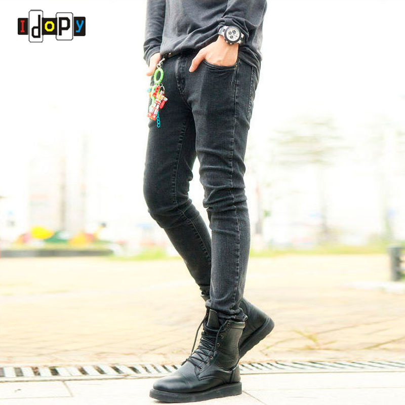 Funky Mens Fashion Pencil Pants Super Skinny Multi Colored Elastic Ripped Washed Faded Slim Fit Long Jeans Trouser For Young Men