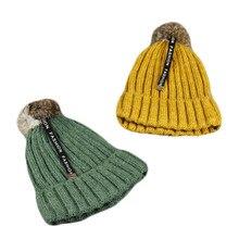 Новинка; детский вязаный пушистый кролик; шерстяная шапка для маленьких детей; модная шапка с буквами; сезон осень-зима; теплые хлопковые Вязанные Шапочки для мальчиков и девочек