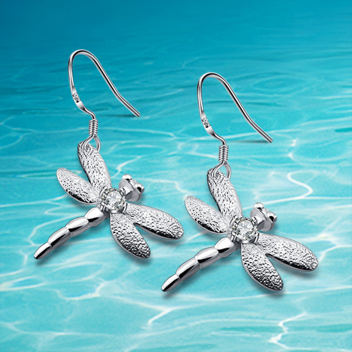 f7b8c17bb1bc The latest fashion accessories. 925 sterling silver earrings dragonfly  pendant. Delicate little gift cute women earrings