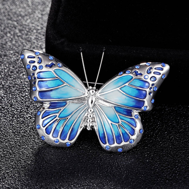 2018 new arrival Blue pink orange enamel butterfly brooches jewelry of women  gifts cartoon hats accessory 15c44a51bc17