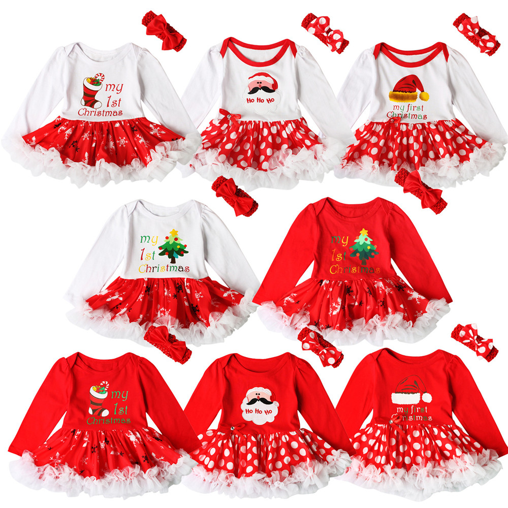 Christmas Baby Newborn Long Sleeve Romper Red Dress Bow Lace Tutu Kids cosplay Santa Claus Print Dress Christmas Costume girls
