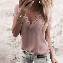 2019 Sexy Tops Women Short Sleeve Loose T Shirt Summer Ladies Casual V-neck Tees Top Pure Color Lace Patchwork T-Shirt lace patchwork keyhole t shirt