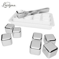 LMETJMA 8pcs/set Stainless Steel Reusable Ice Cubes Chilling Stones with Tongs Whiskey Stones Drink Coolers for Wine KC0152
