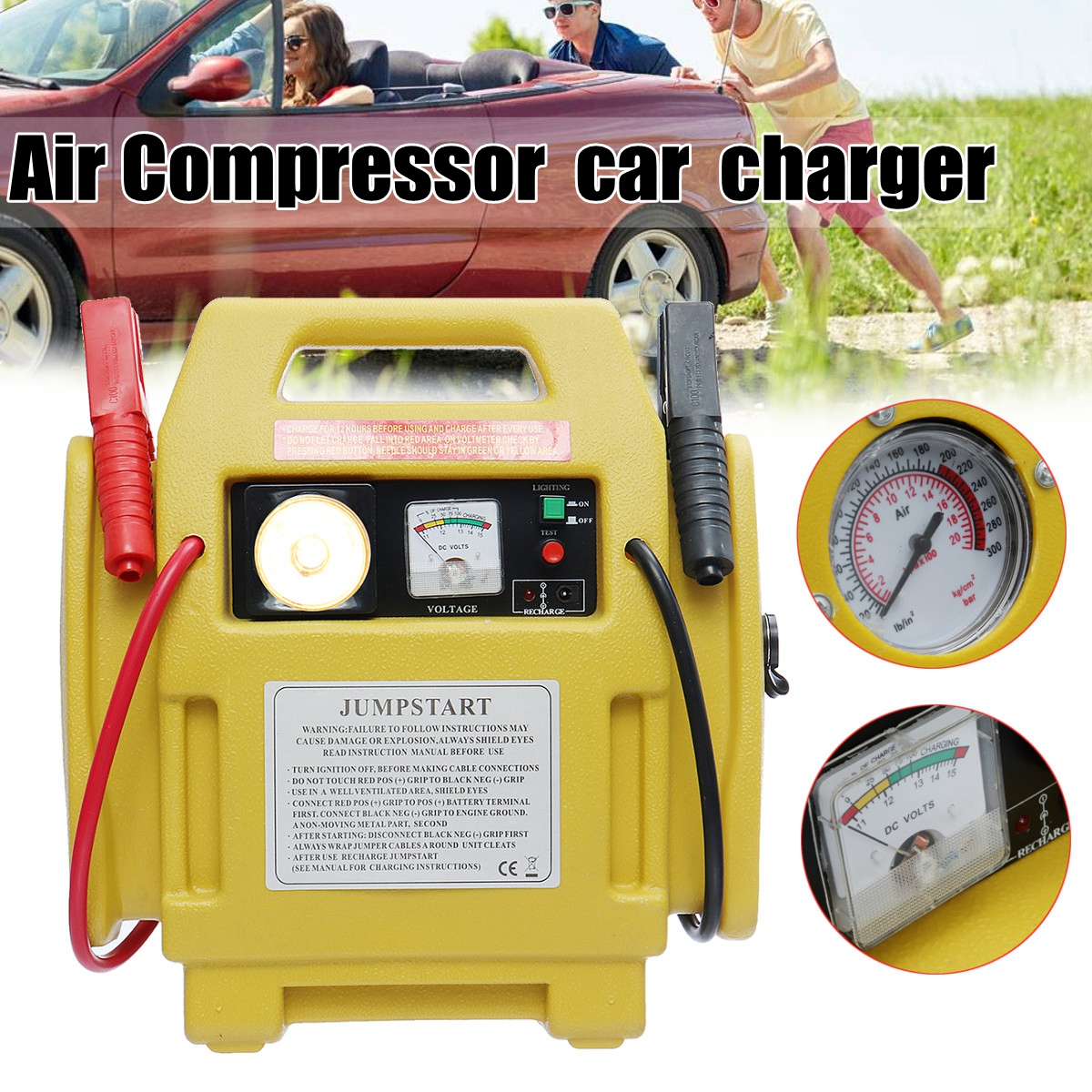 Portable 12V Car Jump Starter Battery Start Booster Charger Leads Air Compressor free shipping high insulation parts 1200 amp car hand tool heavy duty battery jump starter booster leads cables clips ad1018