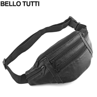 BELLO TUTTI Unisex Genuine Leather Waist Packs Fanny Pack Belt Bag Phone Pouch Bags Travel Waist