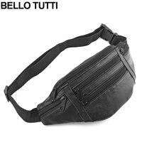 BELLO TUTTI Unisex Genuine Leather Waist Packs Fanny Pack Belt Bag Phone Pouch Bags Travel Waist