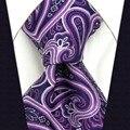 A32 Púrpura Paisley hombres Corbatas Corbata para hombre de La Boda de Seda de la Moda Jacquard Woven Estrenar Novedad tamaño extra largo pañuelos