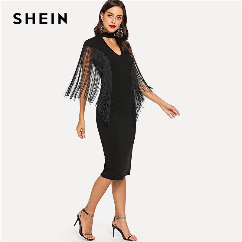 860537654314f SHEIN Black Highstreet Party Elegant Fringe Detail Choker Neck Solid Pencil  Dress 2018 Autumn Modern Lady Slim Women Dresses