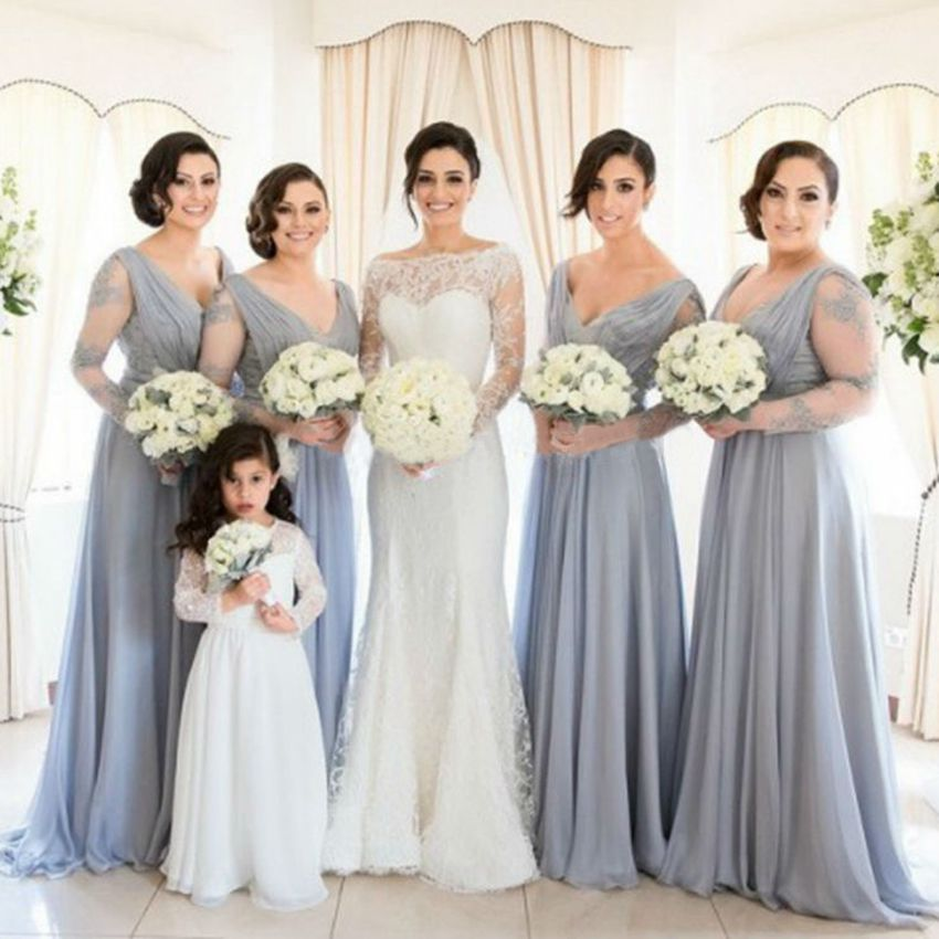 Compare Prices on Gray Long Sleeve Bridesmaid Dress- Online ...
