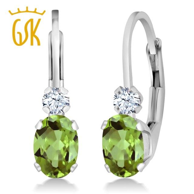 Gemstoneking 1.08 ct oval natural verde peridot branco criado sapphire 925 sterling silver leverback brincos para as mulheres