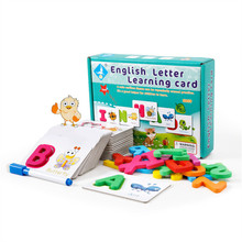baby flash card animal wooden puzzle, English Letter Learning Card Alphabet ABC  Educational Words Toys for Kids