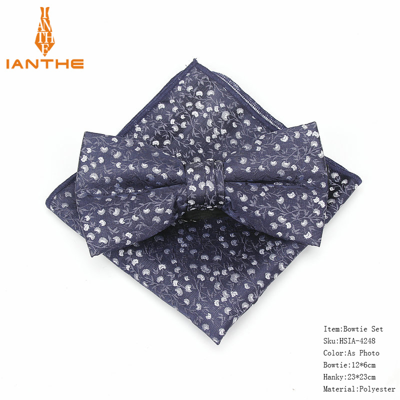 2018 Brand New Men's Vintage Fashion Polyester Silk Paisley Bowtie Hanky Sets For Man Dot Wedding Butterfly Pocket Square Sets