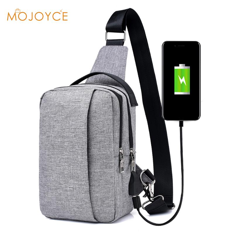 Male External USB Charge Chest Bags Men Chest Pack Travel Crossbody Bag For Men Casual Sling Bag for Ipad Phone Antitheft Bags