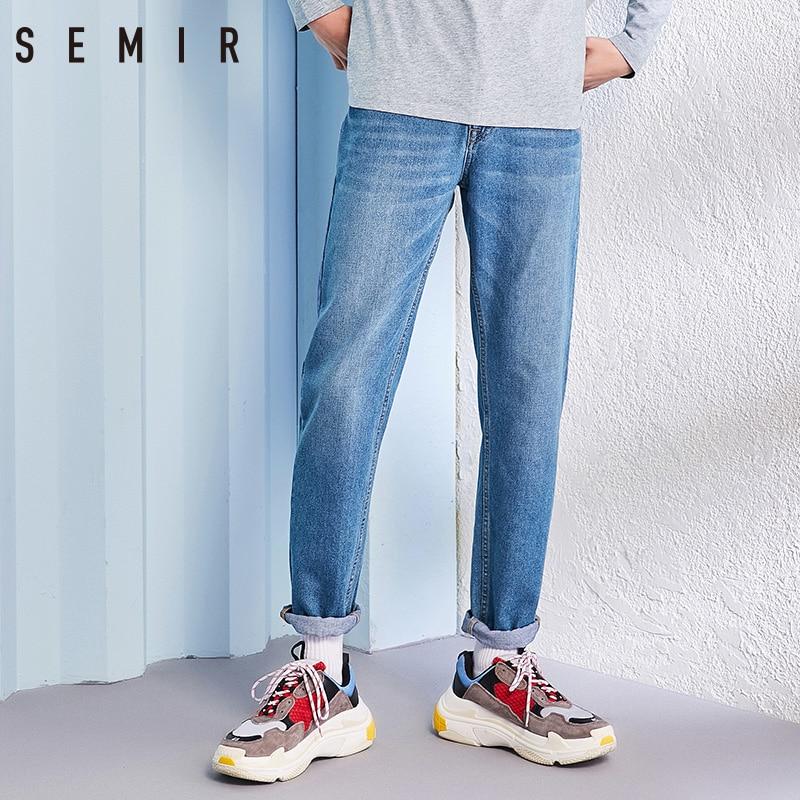 SEMIR Jeans Men Male Straight Fit Pants Classic Jeans Men Denim Elasticity Fashion Trousers Casual Straight Pants Light Blue