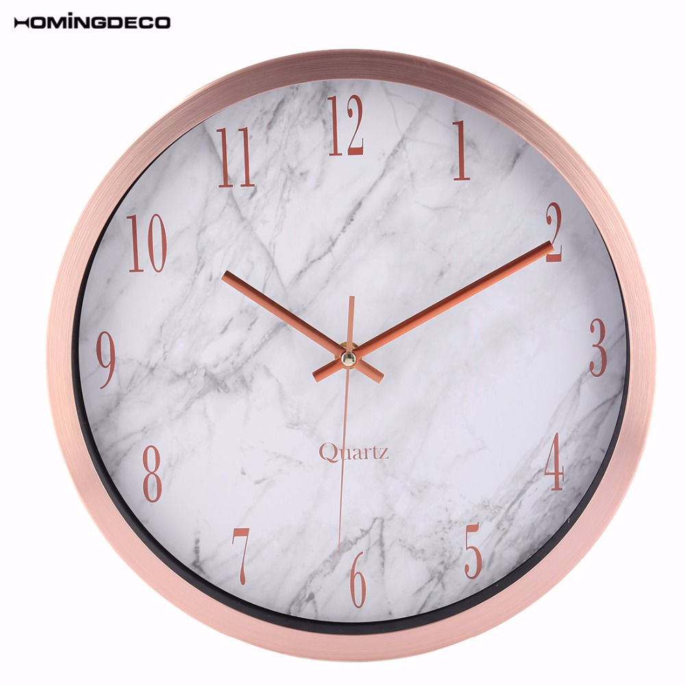 12 Inch Watch Wall Clocks Silente Round Marbling Household Office Livingroom Mute Hanging Clock Wall Decor