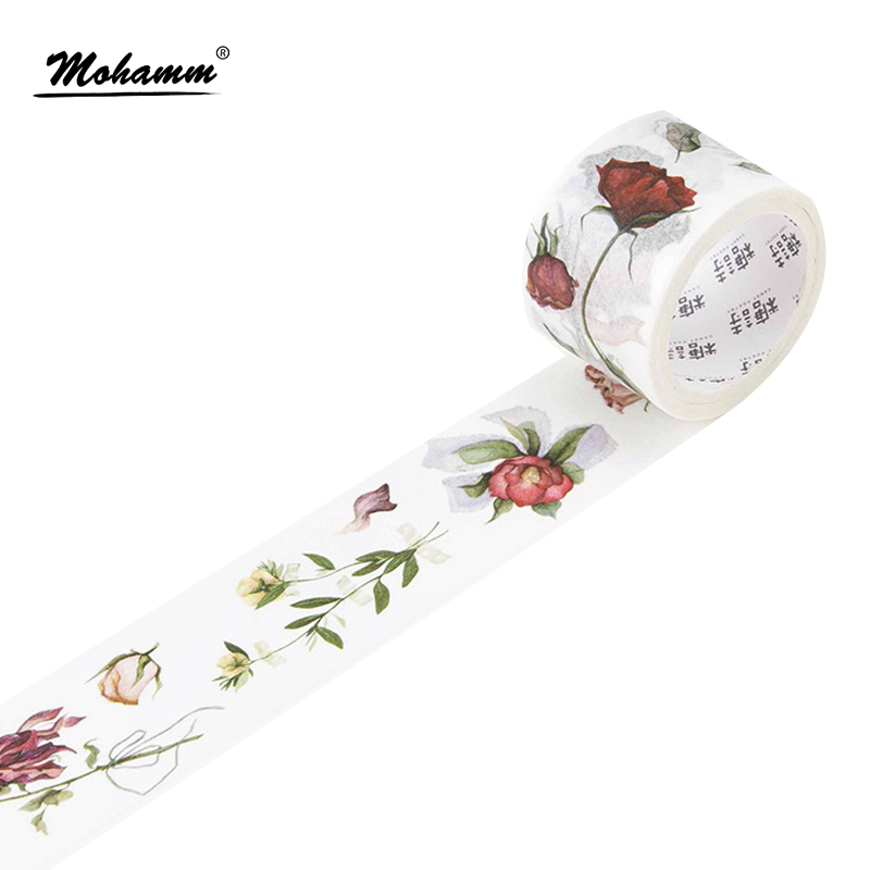 Cute Kawaii Flowers Japanese Washi Tape Adhesive Tape Diy Decoration Planner Scrapbook Sticker Label Masking Tape Stationery cтяжка пластиковая gembird nytfr 150x3 6 150мм черный 100шт