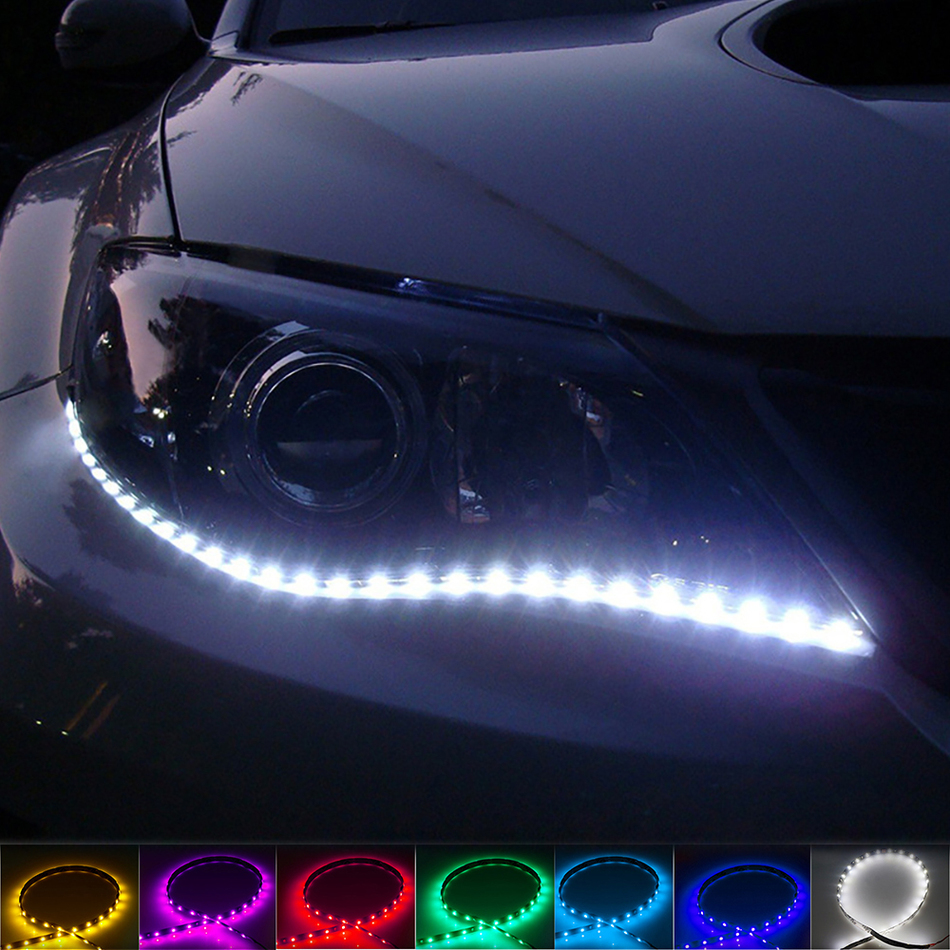 2PCS 12V 12 LED Daytime Running Light Soft Rubber Chip Bar DRL Design Car Lighting with Flexible and Waterproof Led Strip BE автоинструменты new design autocom cdp 2014 2 3in1 led ds150
