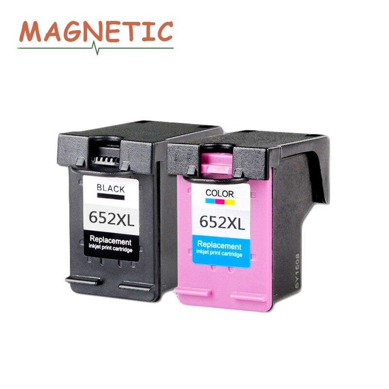 2 pcs Magnétique Compatible cartouches D'encre pour HP652 652 Deskjet 1115 1118 2135 2136 2138 3635 3636 3835 4535 4536 4538 4675